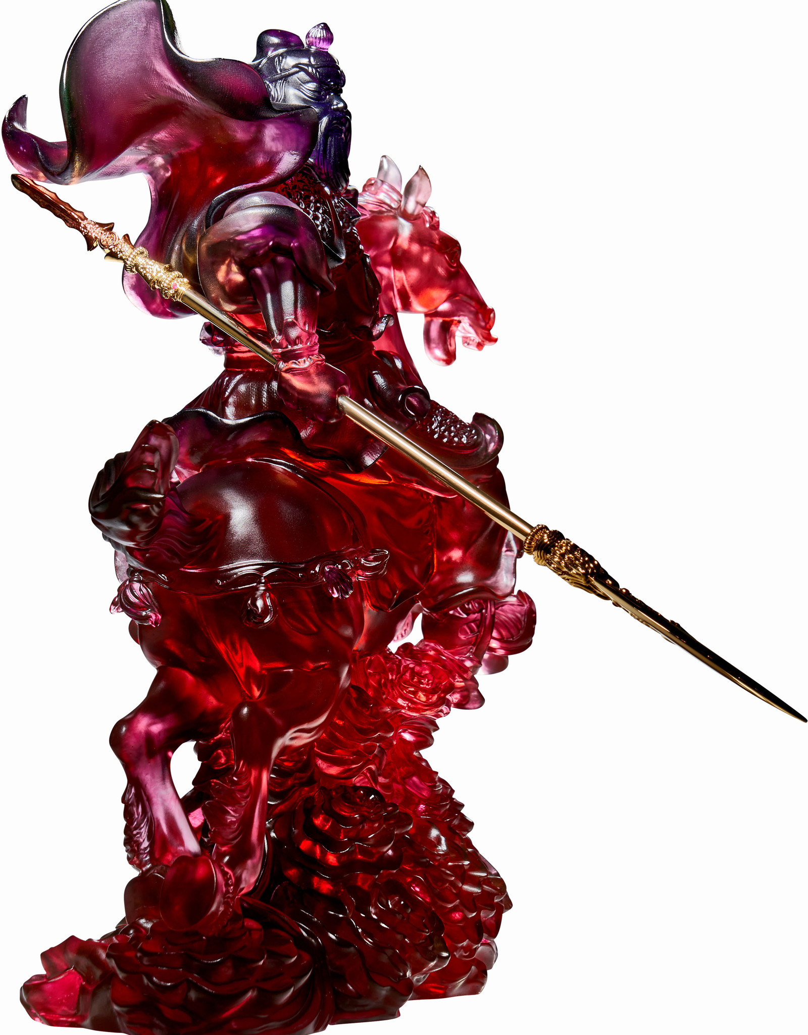 LIULI Crystal Art Crystal Statue of General Guan Gong with 24K Gold-Plated Sword (Limited Edition)