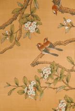 "Lawrence & Scott Sung Tze-Chin ""Joyous Spring"" Ink on Silk 6-Panel Screen (7 ft x 9 ft)"