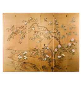"Lawrence & Scott Sung Tze-Chin ""Joyous Spring"" Ink on Silk 6-Panel Screen (7 ft x 9 ft)"