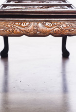 Antique - Lawrence Collection Vintage Mid-Century Asian Hand Carved Mahogany and Oak Coffee Table