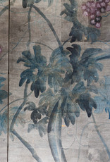 "Lawrence & Scott Sung Tze-Chin ""Tranquility"" 4-Panel Ink on Paper Grapevine Chinoiserie Hanging Screen Painting"