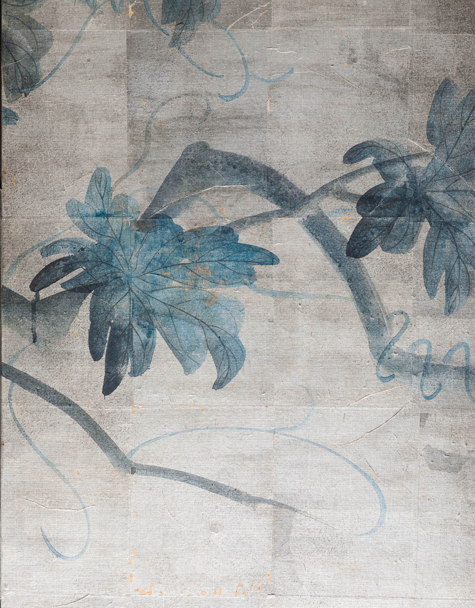 """Lawrence & Scott Sung Tze-Chin """"Tranquility"""" 4-Panel Ink on Paper Grapevine Chinoiserie Hanging Screen Painting"""
