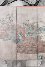 """Lawrence & Scott Sung Tze-Chin Large Chinoiserie Hanging Screen Ink on Paper """"Brushed Wood Fence With Chrysanthemum"""" 11 Feet Wide by 6 Feet Height"""