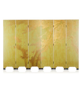 Lawrence & Scott Double-Sided Leather Wisteria & Bamboo Scene 6-Panel Room Divider Screen in Rural Green