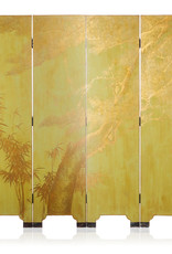 Lawrence & Scott ouble-Sided Leather Wisteria & Bamboo Scene 6-Panel Room Divider Screen in Rural Green