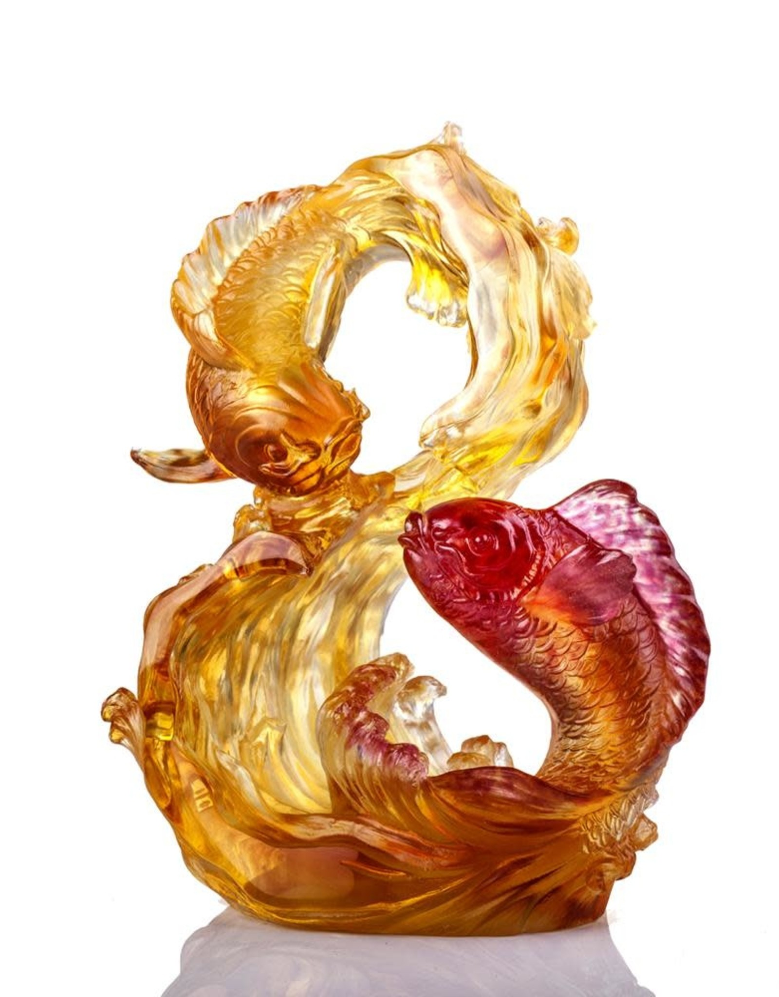 """LIULI Crystal Art Crystal Koi, """"Success begets success"""", Amber Gold Red (Limited Edition)"""