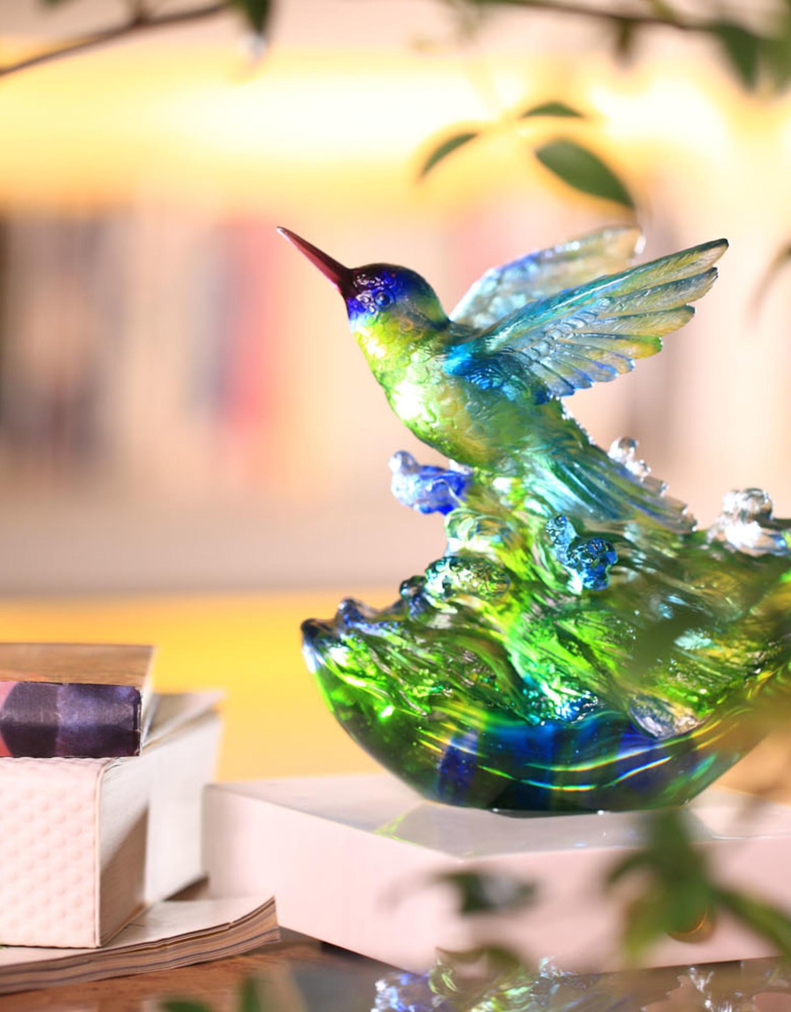 "LIULI Crystal Art LIULI Crystal Art Crystal Humming Bird ""Victory by Daybreak"" (Blue/Green)"