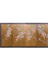 "Lawrence & Scott Japanese Rinpa-Style Custom ""Flowers and Birds"" Chinoiserie 4-Panel Screen"