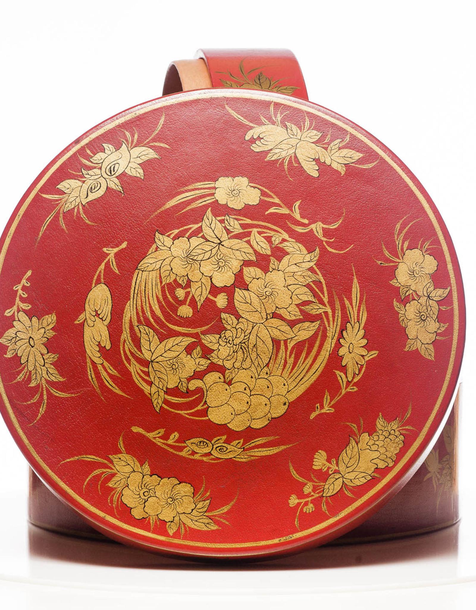 "Lawrence & Scott Mandarin Red Nurture 2-Tier Round Leather Sewing Box (14"")"