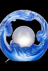 LIULI Crystal Art Crystal Water Flow Feng Shui Sculpture in Blue