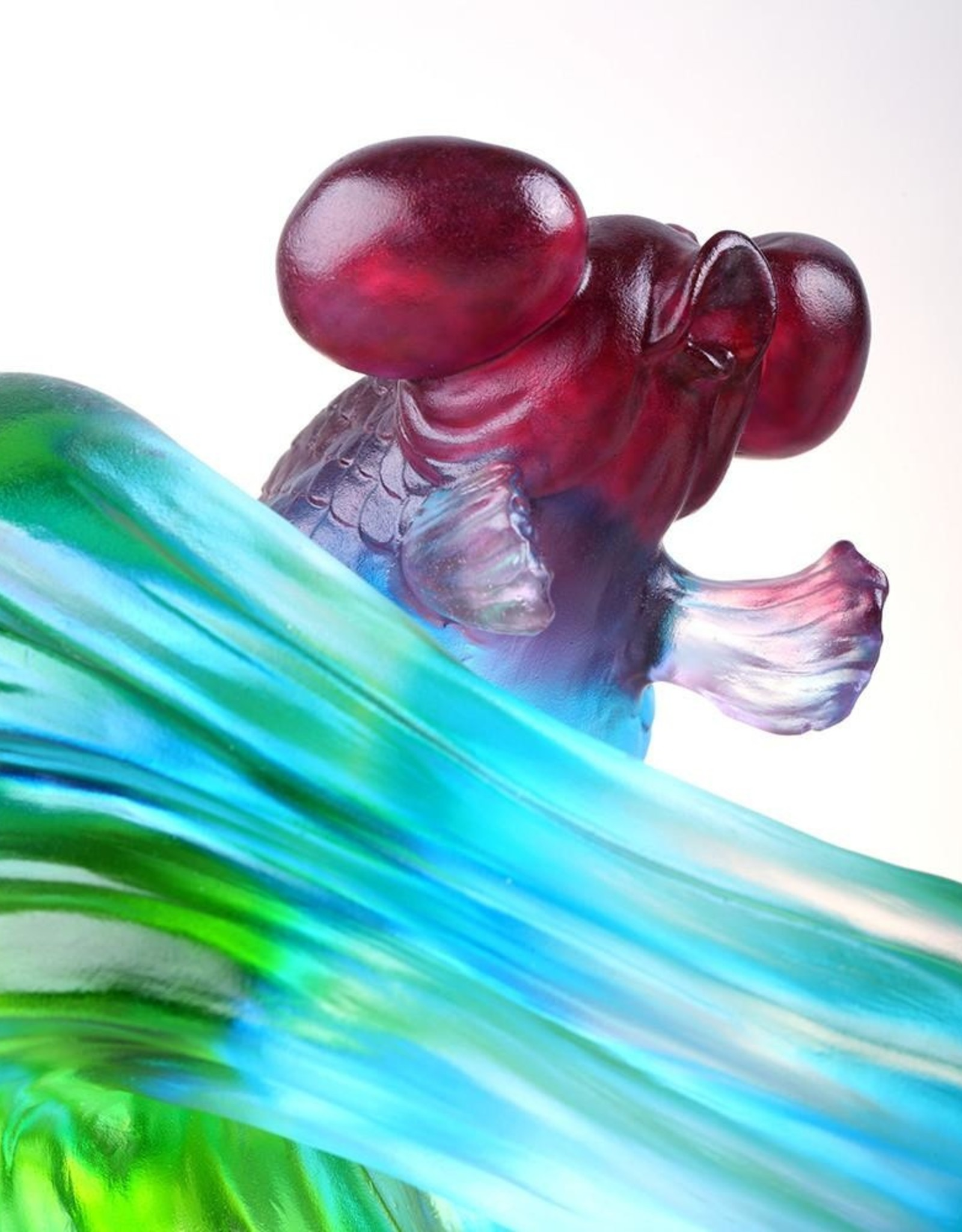 """LIULI Crystal Art Crystal Gold Fish Figurine (Enjoyment) - """"Echo of Joy"""" in Blue/Green"""
