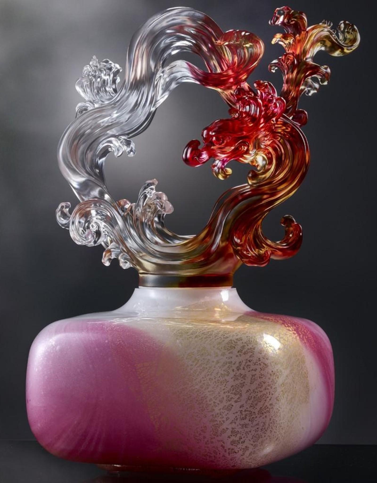 "LIULI Crystal Art Crystal Feng Shui, Wood Element, Dragon Treasure Vase ""Ethereal Chime Baoping"""