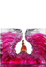 "LIULI Crystal Art Crystal Mythological Bird, Pheonix, ""Illuminated Heart of Fire and Wind"""
