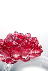 """LIULI Crystal Art Crystal Flower, Peony, """"Opulent Fragrance"""" in Gold Red"""