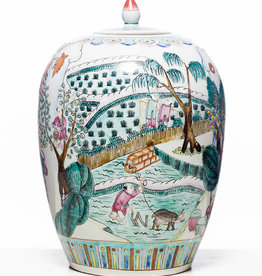 Antique - Lawrence Collection Antique Chinese Famille Rose Floral Ginger Jar With Garden Scene, Tongzhi Mark