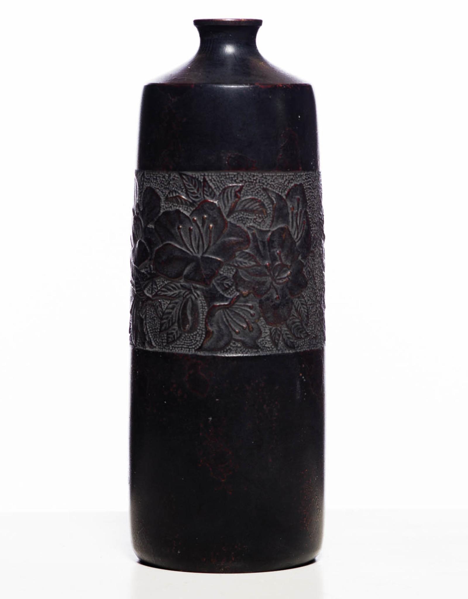 Antique - Lawrence Collection Antique Japanese Round Sakura Zinc Vase ca. 1900