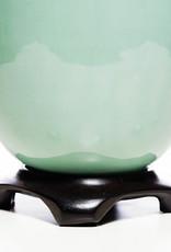 Lawrence & Scott Legacy Lagom Porcelain Lamp in Aquamarine with Rosewood Base