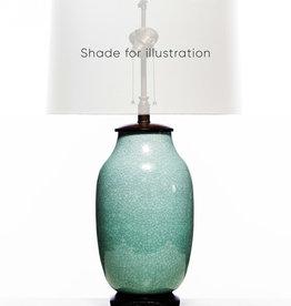 Lawrence & Scott Legacy Lagom Lantern Lamp in Aquamarine Crackle with Rosewood Base