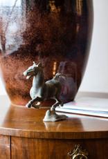 Lawrence & Scott Verdigris Bronze Galloping Horse on Flying Swallow Sculpture