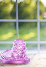 """LIULI Crystal Art Crystal Chow Chow Dog """"Only Love,"""" Year of the Dog, Pinkish Red (Limited Edition)"""