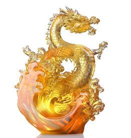 LIULI Crystal Art LIULI Crystal Dragon, Ocean Wave, Dragon of Excellence in Gold