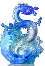 LIULI Crystal Art Crystal Dragon, Ocean Wave, Dagon of Excellence in Sapphire Blue