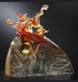 """LIULI Crystal Art Crystal Dragon """"Emergence of the Leadership Dragon"""" 24K Gilded Amber/Gold Red (Limited Edition)"""