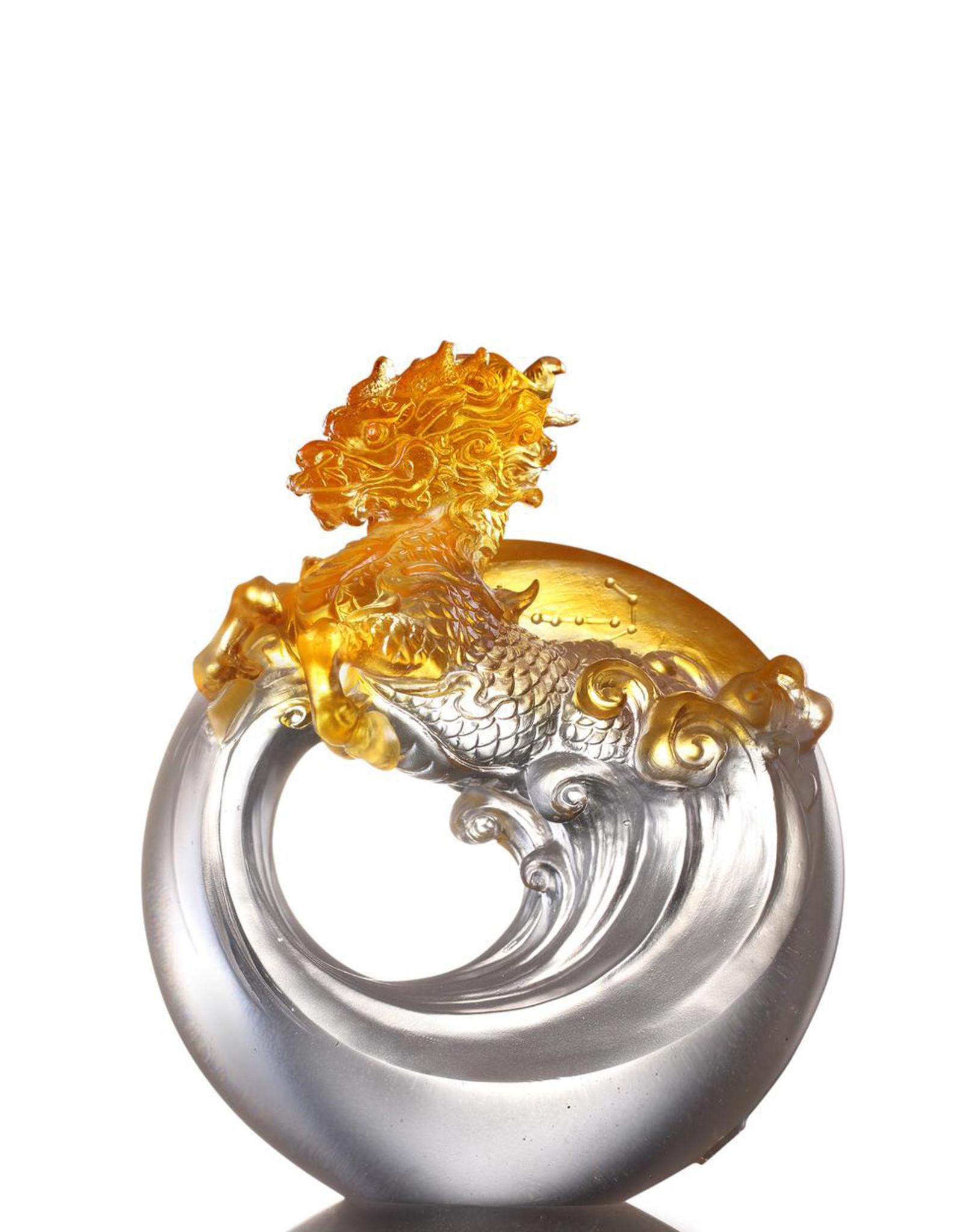 LIULI Crystal Art Crystal Mythical Creatures, Set of 5, Dragon, Vermillion Bird, Qilin, Tiger, Tortoise (Light set)