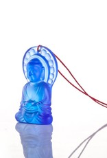 "LIULI Crystal Art Crystal Pendant, Necklace, Medicine Buddha, ""Luminosity at Hand"" (Blue)"