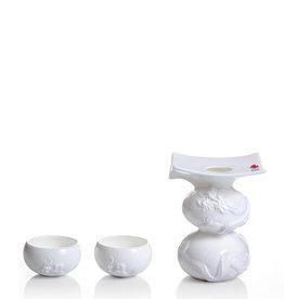 "LIULI Crystal Art Bone China Sake Set - (3-Piece Set) ""Li Bai's Intoxication"" Limited Edition"