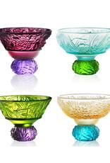 LIULI Crystal Art A Drink To Virtue (Set of 4), Sake Glass, Shot Glass (4 Designs, Mixed Color)