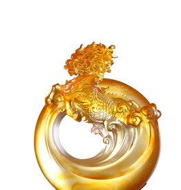 "LIULI Crystal Art Crystal Qilin, the mythical creature - ""Beauty"" in Dark & Light Amber"