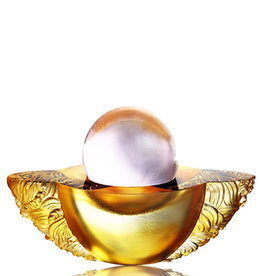 """LIULI Crystal Art Crystal Paperweight """"As the good world turns"""" Feng Shui Sculpture in Light Amber"""