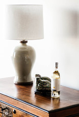 Lawrence & Scott Dashiell Table Lamp in Oyster Crackle with Walnut Base