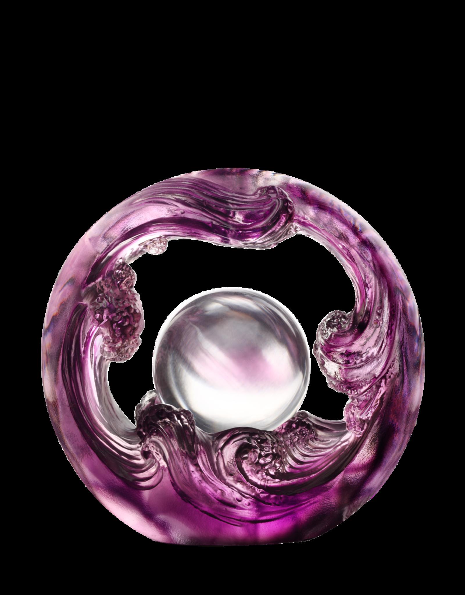 LIULI Crystal Art Crystal Water Flow Feng Shui Sculpture in Violet