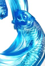 """LIULI Crystal Art Crystal Carp Fish Sculpture, """"Together, We Rise"""" (Limited Edition) (Blue)"""