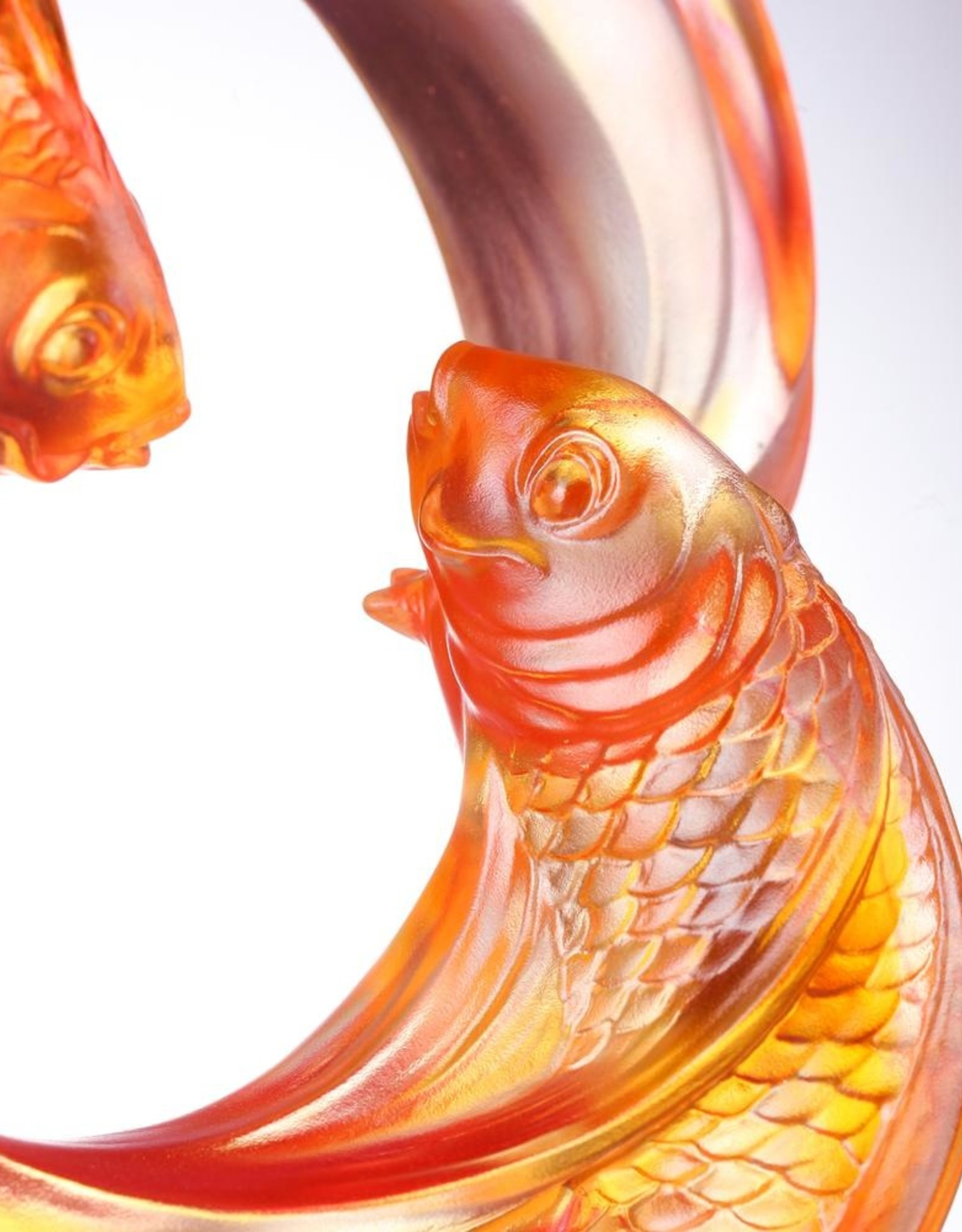 """LIULI Crystal Art Crystal Carp Fish Sculpture, """"Together, We Rise"""" (Limited Edition)"""
