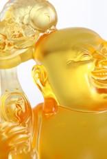 LIULI Crystal Art Crystal Happy Laughing Buddha, Ruyi Glass Sculpture