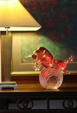 """LIULI Crystal Art Crystal Art Bull Statue in Gold Red/Purple """"Rise Above"""" Limited Edition"""