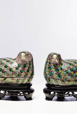 Antique - Lawrence Collection Porelain Quail  Box on Carved  Stand  Multicolored Right Facing, 20th Century, 3.5 x 8 x 5''