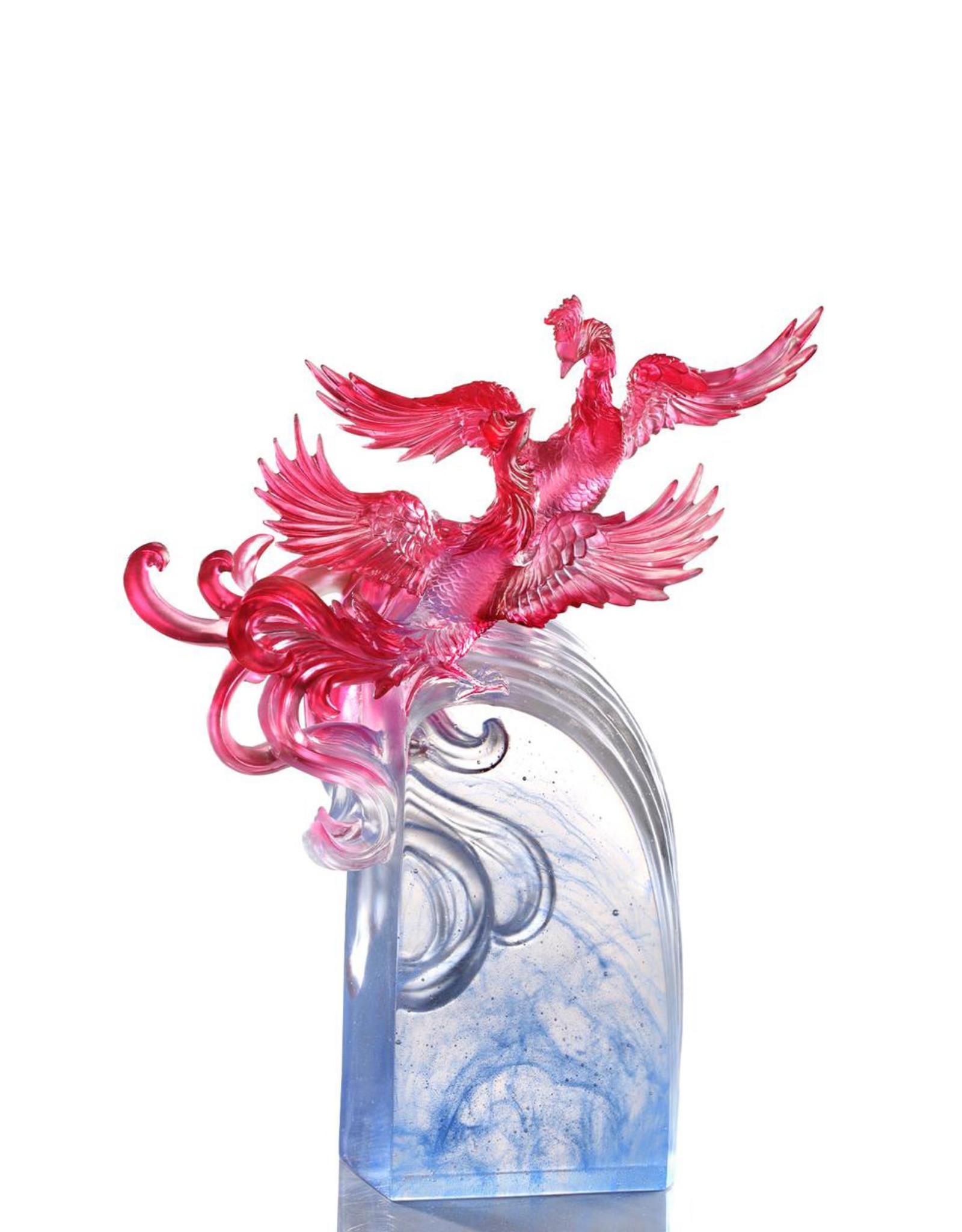 "LIULI Crystal Art Crystal Phoenix, ""Splendor In The Nine Heavens"""