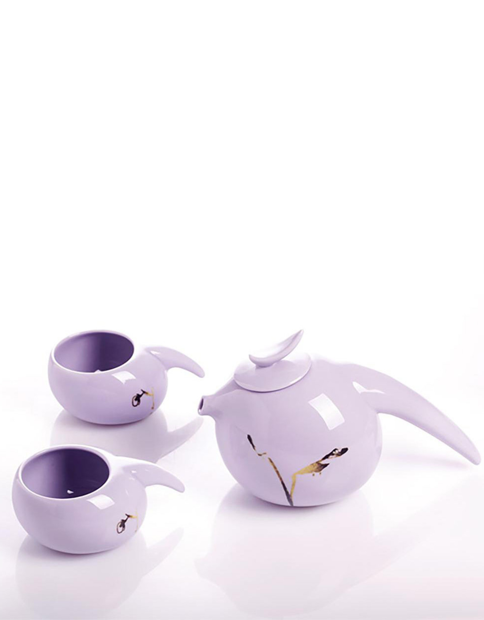 "LIULI Crystal Art Bone China Tea Set, ""Robin, Herald of the Dawn"" (1 Teapot, 4 Teacups) Limited Edition"