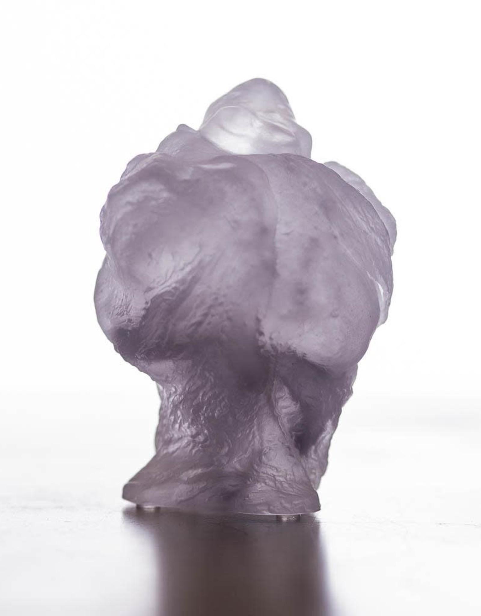 LIULI Crystal Art Crystal Buddha, Matreiya, Happy Buddha, Great Joy-All Encompassing, Purple Powder *Showroom Sample*