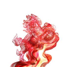 "LIULI Crystal Art Crystal Foo Dog  ""A Thunderous Presence"" in Amber Red"