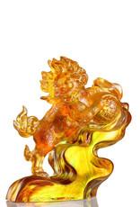 "LIULI Crystal Art Crystal Foo Dog  ""A Thunderous Presence"" in Amber Blue Green"