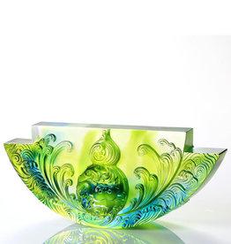 LIULI Crystal Art Crystal Chinese Hulu, Harmony Permeates the Land, Bluish/Green Clear
