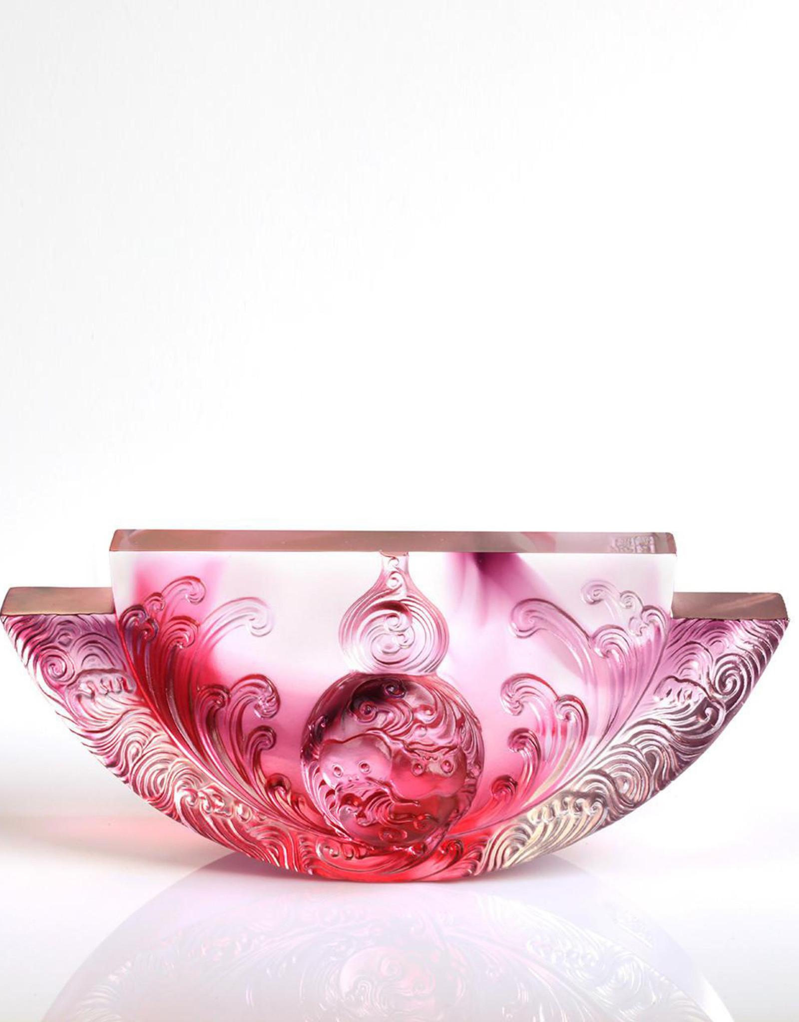 LIULI Crystal Art Crystal Hulu, The Beauty of Harmony, Harmony Permeates the Land, Gold Red Purple