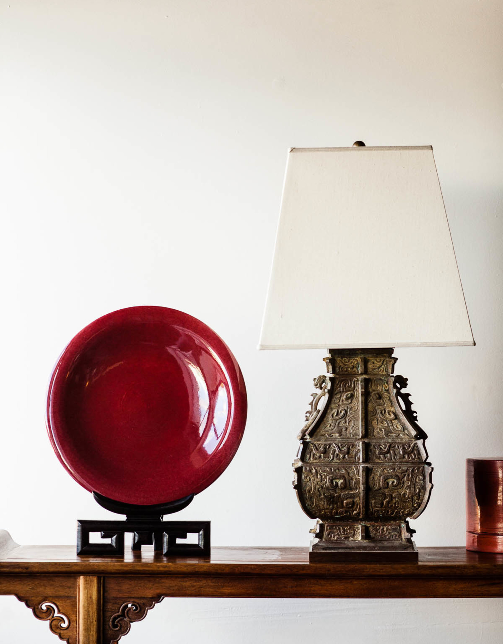 Lawrence & Scott Maxwell Table Lamp in Archaic Bronze