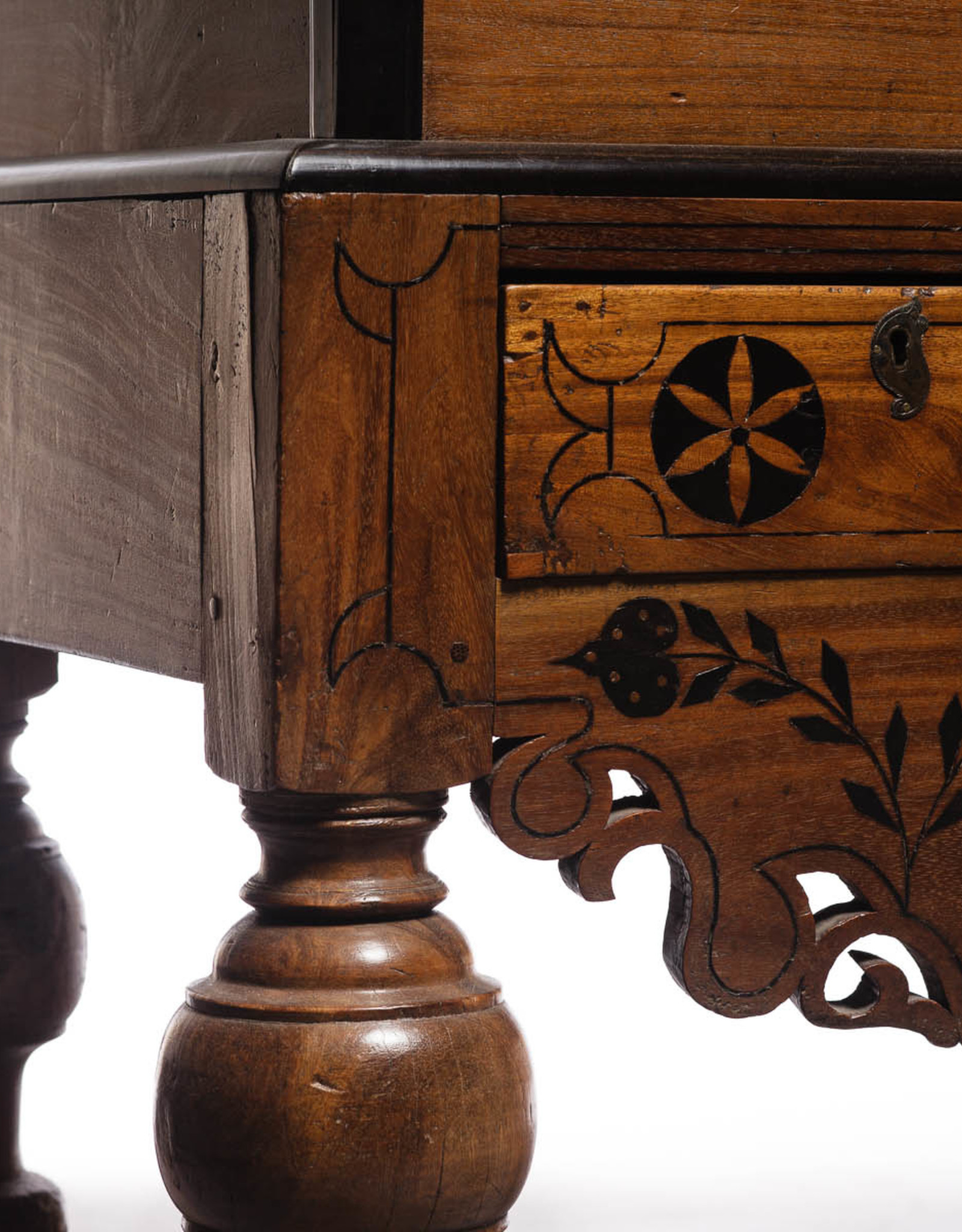 Antique - Lawrence Collection Dutch Colonial Style Teak, Ebony Wood Chest on Stand