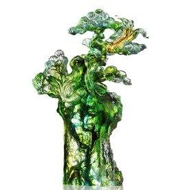 "LIULI Crystal Art Crystal Fish and Pine Tree, ""Evergreen Prosperity"""